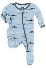 Kickee Pants Pond Airplanes Zipper Footie