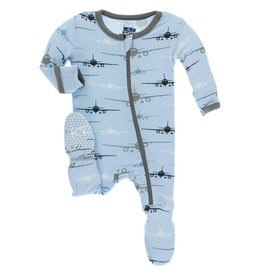 Kickee Pants Pond Airplanes Zipper Footie