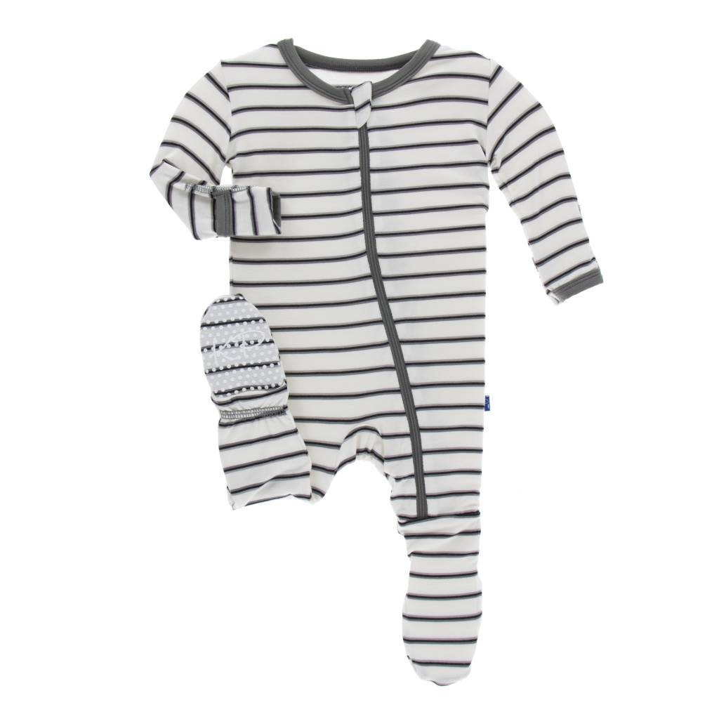 Kickee Pants Neutral Parisian Stripe Zipper Footie