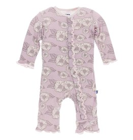 Kickee Pants Sweet Pea Poppies muffin ruffle Coverall