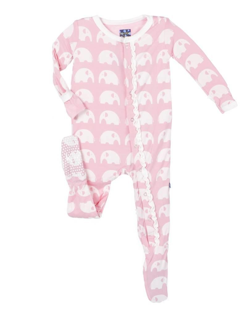 Kickee Pants Lotus Elephant Ruffle Footie
