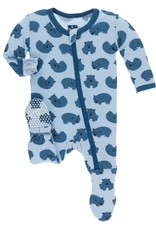 Kickee Pants Natural Wombat Print Footie