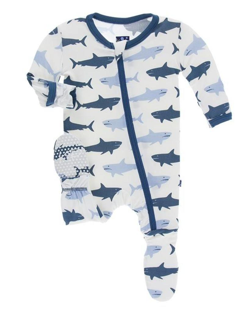 Kickee Pants Natural Megalodon Print Footie