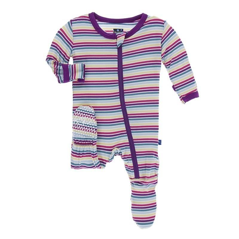 Kickee Pants Girl Perth Stripe Footie