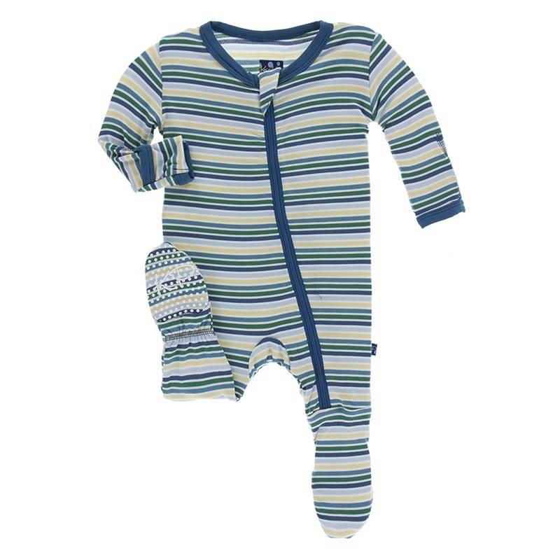 Kickee Pants Boy Perth Stripe Print Footie