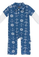 Kickee Pants Twilight Anchor LS Double Polo Romper