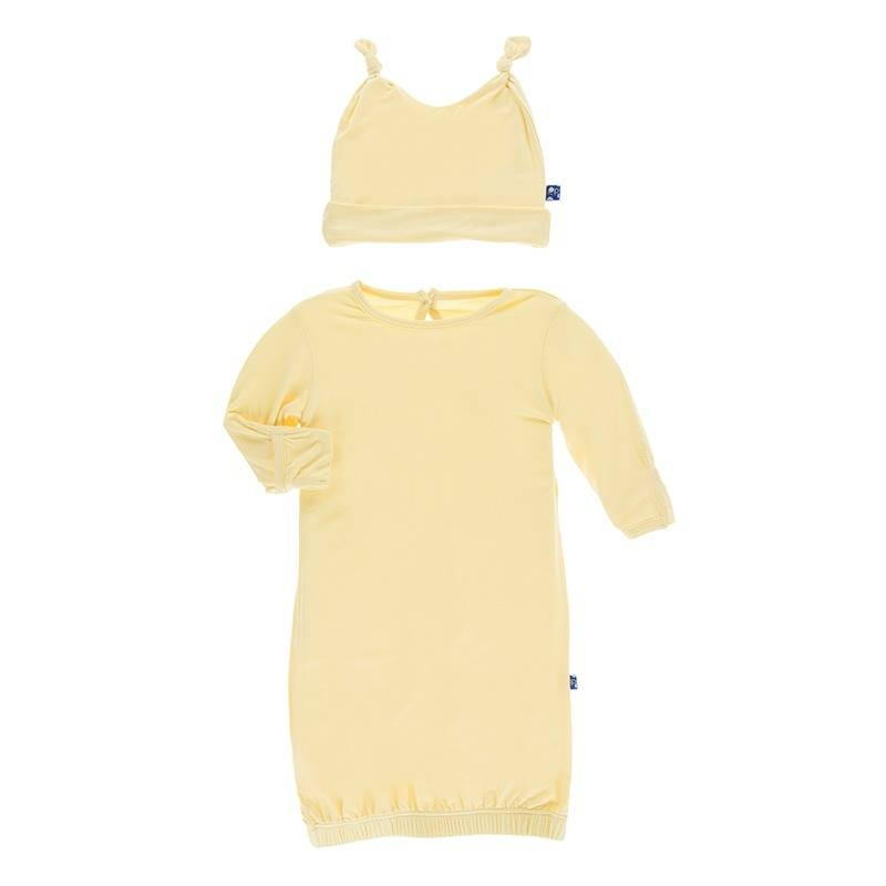 Kickee Pants Solid Wallaby Layette Gown Set 0-3m