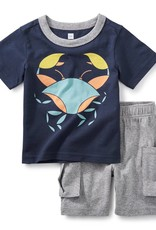 Tea Collection Little Crab Baby Outfit INDIGO