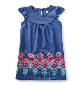 Tea Collection Feather Graphic Dress BLUEBELL