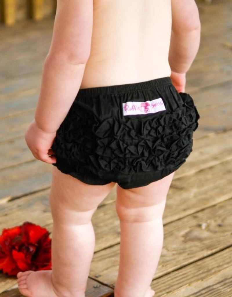 Ruffle Butts Black Woven Ruffle Butt  6-12m