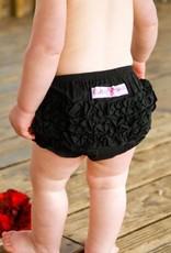 Ruffle Butts Black Woven Ruffle Butt  3-6m