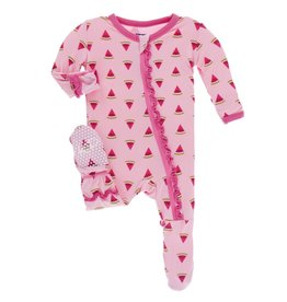 Kickee Pants Lotus Watermelon Ruffle Footie