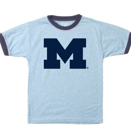 Wes and Willy Michigan Light Blue ringer Tee