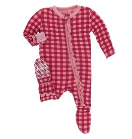 Kickee Pants Flag Red Gingham Ruffle Footie