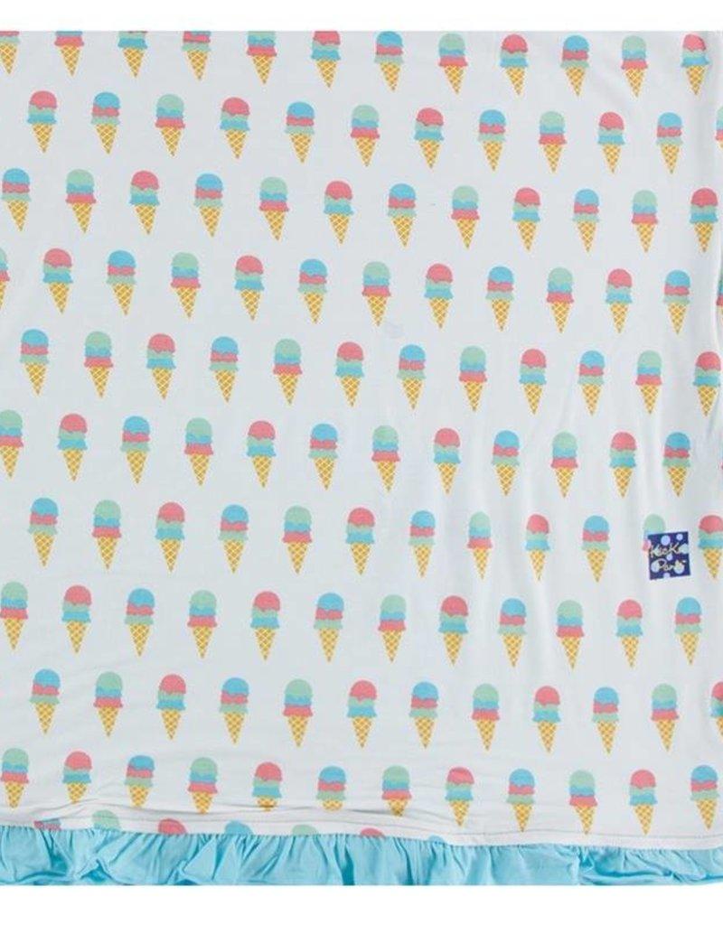 Kickee Pants Natural Ice Cream Ruffle Toddler Blanket