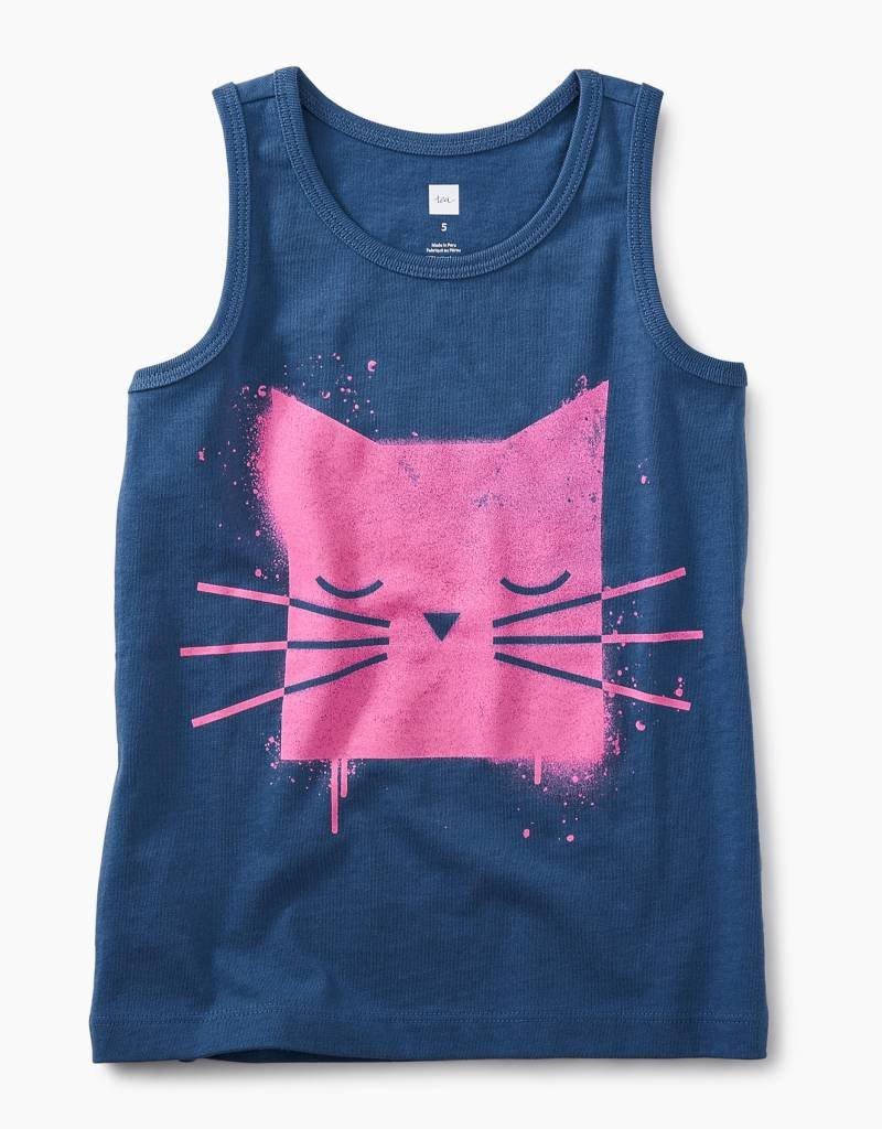 Tea Collection Spray paint kitty graphic tank