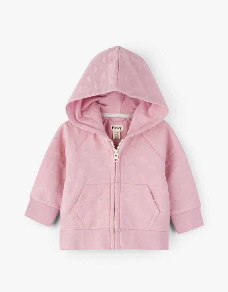 Hatley Pink Hearts Quilted Baby Hoodie