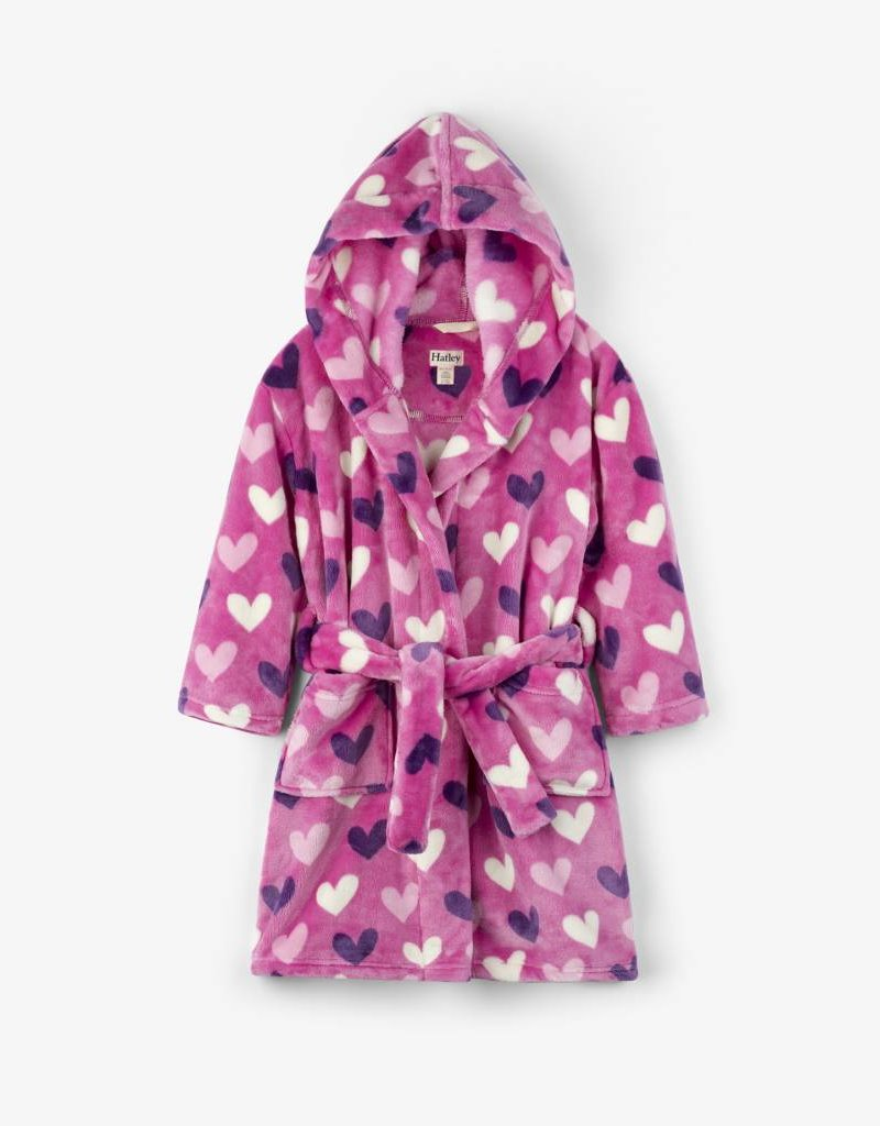 Hatley Beachy Pink Multi Hearts Fleece Robe