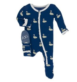 Kickee Pants Navy Queen's Swans Footie