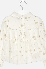 Mayoral USA Natural Stars Gauze Blouse