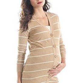 Tan Stripe Cardigan  L