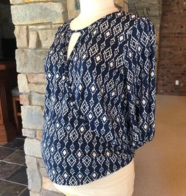 Navy Ikat Kylie Top  Small