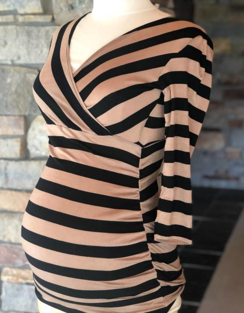 Black Taupe Stripe Michelle Top  Small