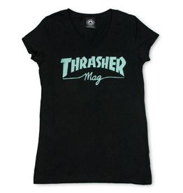 Thrasher Thrasher Logo Girl's V Neck T-Shirt - Black