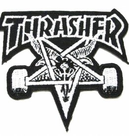 """Thrasher Thrasher Skategoat 4 x 3.5"""" Embroidered Patch - Black/Grey"""