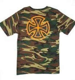 Independent Independent Bar/Cross Regular S/S Men's T-Shirt - Camo w/Orange