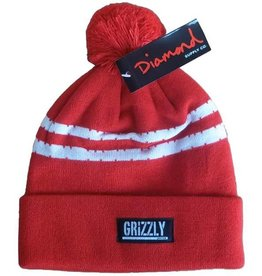 Grizzly Grizzly Striped Beanie One Size - Red