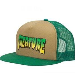 Creature Creature Logo Mesh Trucker Hat - Khaki/Forest Green