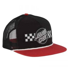 Santa Cruz Skateboards Santa Cruz Contest Mid Profile 5-Panel Trucker Mesh Hat - Black/Cardinal