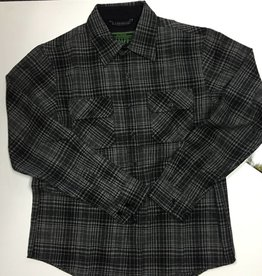 Creature Creature Infantry Button Up Flannel Long Sleeve Shirt - Grey/Black Plaid