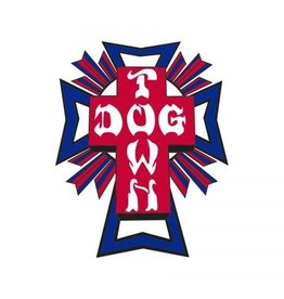 "Dogtown Dogtown Cross Logo Flag 2"" Die Cut Sticker - Blue/Red"