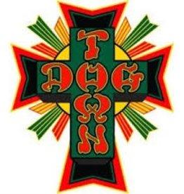 "Dogtown Dogtown Cross Logo Flag 2"" Die Cut Sticker - Green/Yellow/Red"