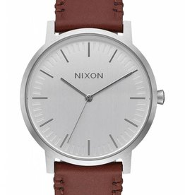 Nixon Nixon Porter Leather Watch - Silver/Brown