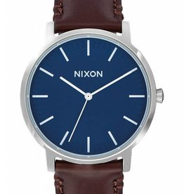 Nixon Nixon Porter Leather Watch - Navy/Brown