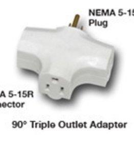 Hydrofarm Hydrofarm 90 Degree Tri Tap Adapter, White