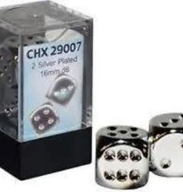 CHESSEX CHX 29007 16MM 2 PC D6 SET SILVER PLATED