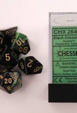 CHESSEX CHX 26439 7 PC POLY DICE SET BLACK GREEN W/GOLD GEMINI