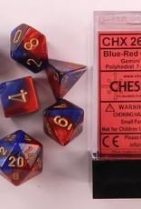 CHESSEX CHX 26429 7 PC POLY DICE SET BLUE W/ RED GEMINI