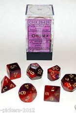 CHESSEX CHX 26426 7 PC POLY DICE SET PURPLE RED GEMINI