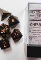 CHESSEX CHX 25428 7 PC POLY DICE SET OPAQUE BLACK W/GOLD