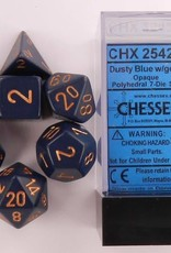 CHESSEX CHX 25426 7 PC POLY DICE SET Dusty Blue w/ Copper