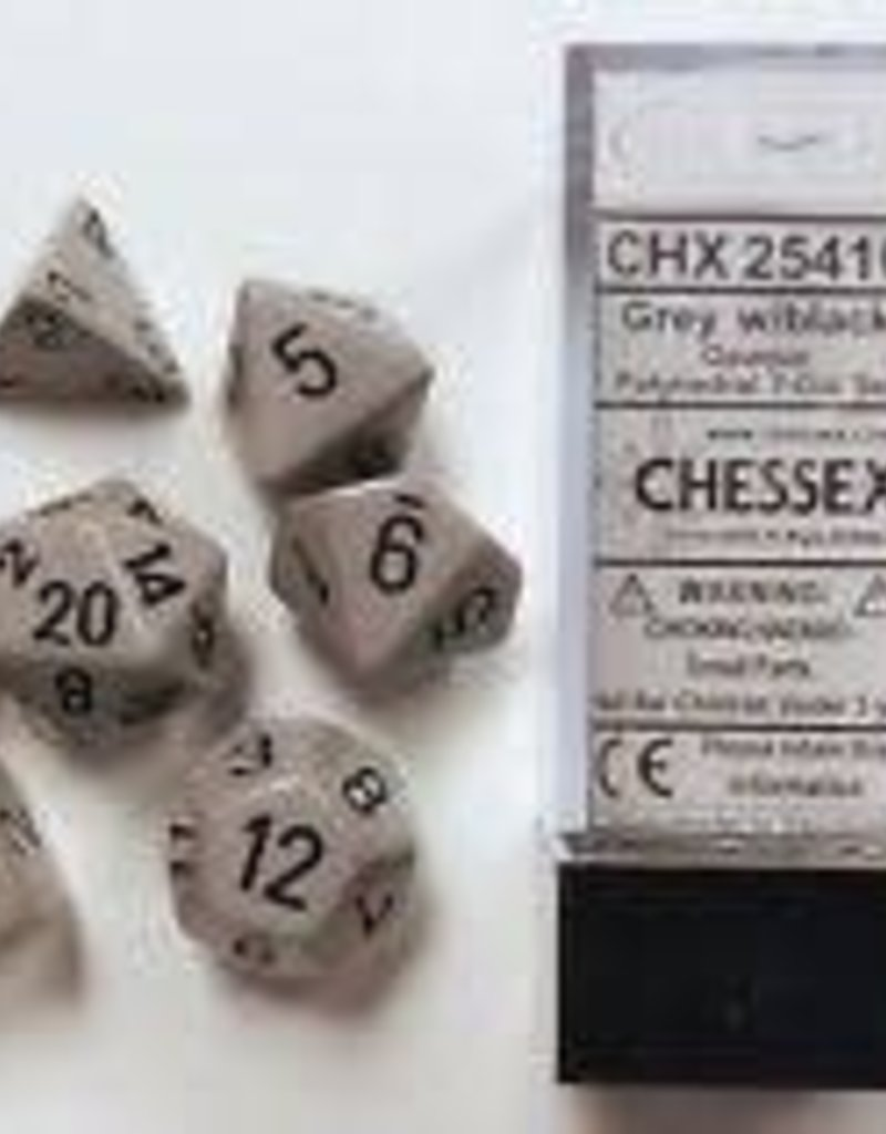 CHESSEX CHX 25410 7 PC POLY DICE SET DRK GREY W/ BLACK