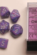 CHESSEX CHX 25347 7 PC POLY DICE SET SILVER TETRA SPECKLED