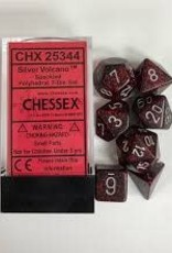 CHESSEX CHX 25344 7 PC POLY DICE SET SPECKLED SILVER VOLCANO