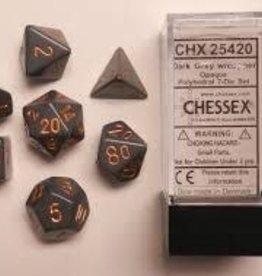 CHESSEX CHX 25420 7 PC POLY DICE SET Dark Grey w/ Copper