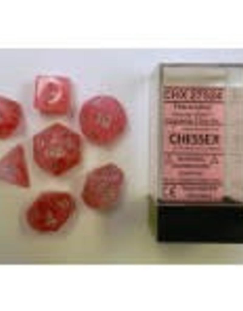 CHESSEX CHX 27524 7 PC POLY DICE SET GHOSTLY GLOW PINK W/SILVER